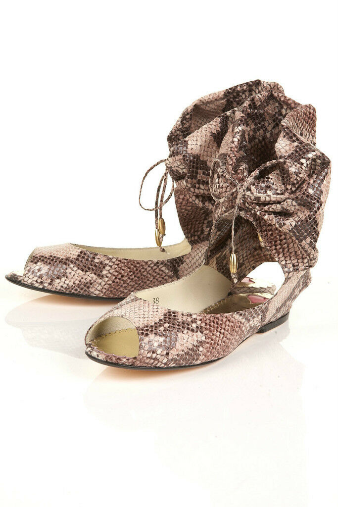 BNIB TOPSHOP FRENCH PEEP SOLE ORIGINAL SNAKE SKIN PEEP FRENCH TOE SANDALS IN NATURAL UK 6 b5811b