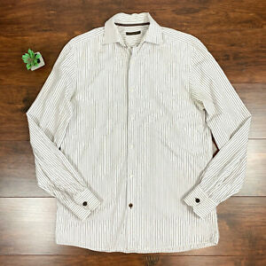 Details About Louis Vuitton Paris Ls Dress On Down Shirt White Pencil Striped Mens Sz 15 5