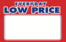 100 Everyday Low Price 55 X 7 Retail Value Sale Price Signs Cards