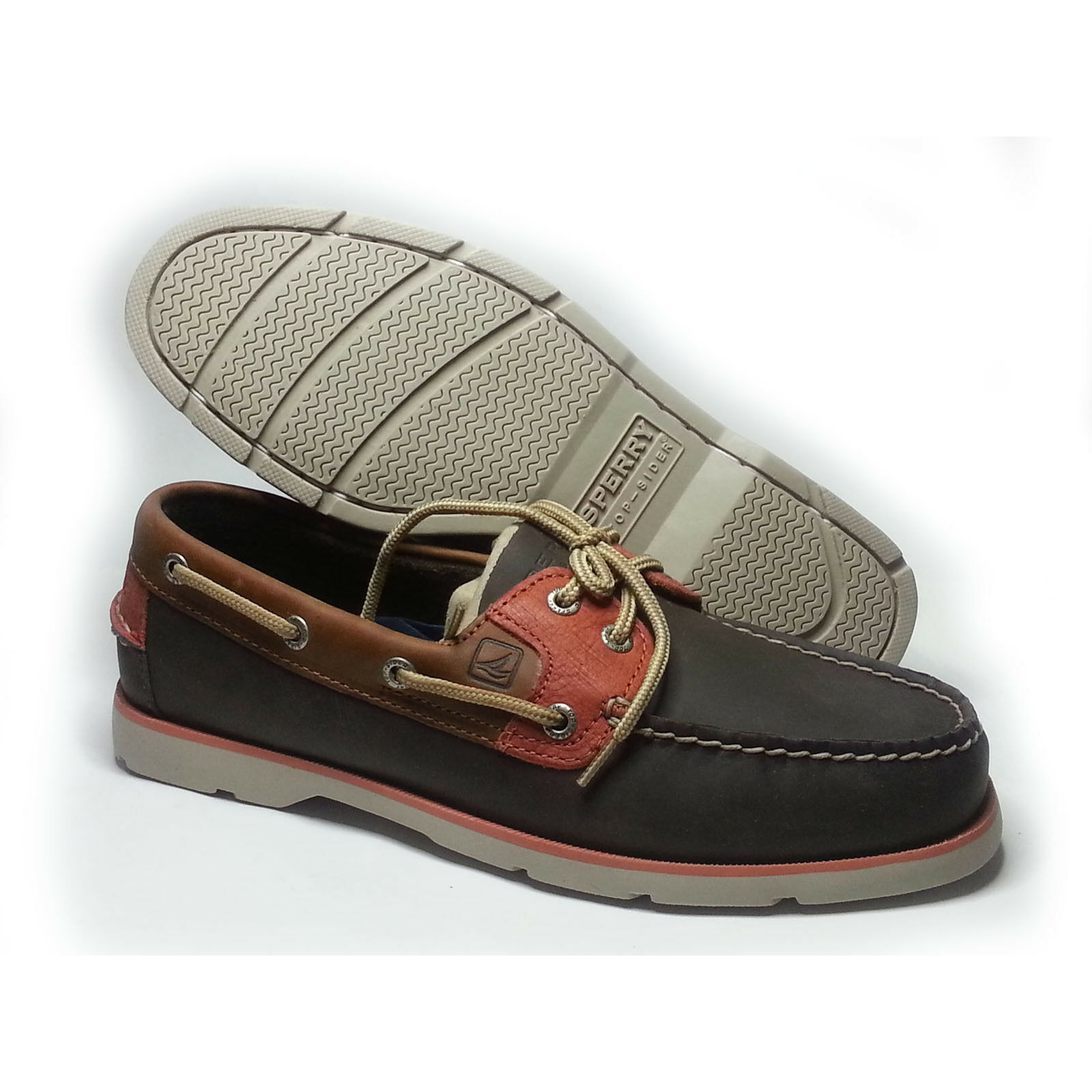 Sperry Top-Sider Men Size 8.5 Boat shoes LEEWARD DK Brown Tan orange NIB
