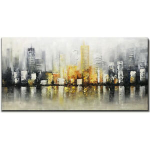 100-Hand-Painted-Abstract-cityscape-3D-Oil-painting-on-canvas-unframed-24x48inch