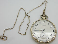 1924 HAMILTON 14K White Gold Grade 916, 17j, 12s Octagon Open Face Pocket Watch
