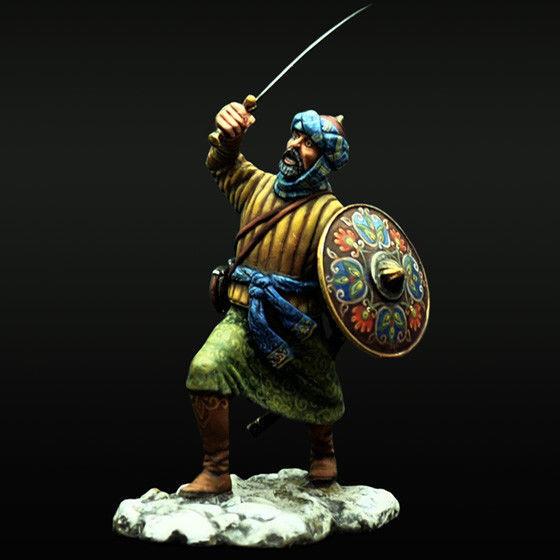 Soldado de estaño, un guerrero musulmán es en el ataque. las Cruzadas. 54 mm