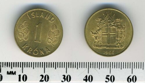 Iceland 1963-1 Krona Nickel-Brass Coin Shield with supporters