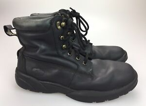f2ff27423f0 Details about DR COMFORT Boss Men's Work Boots Black Leather Plain Toe  Diabetic Size 11 Wide