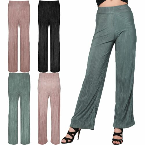 Ladies Womens Baggy Wide Leg High Waisted Pleated Pants Flared Palazzo Trousers