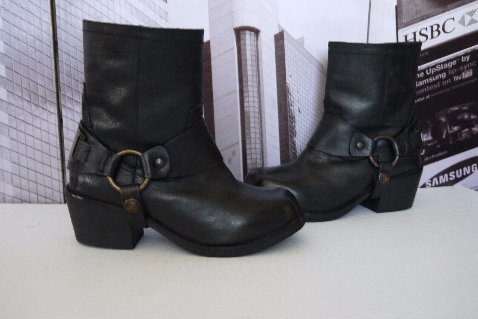 CARVELA Kurt Geiger SHERILYN Leather Biker Ankle Harness Boots US 6 EU 37