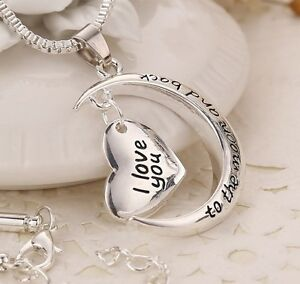 034-I-love-you-to-the-moon-and-back-034-Silver-Plated-Heart-Pendant-Necklace-18-034-2-034