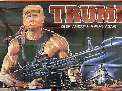 Donald Trump 3x5 Rambo Keep America Great New in Package