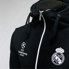 Real Madrid Full Zip Hoodie Soccer Team Jacket Turtleneck Hood Sweatshirts Black