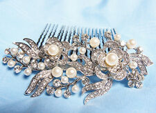 Bridal Wedding Jewelry Crystal Rhinestone Pearl Duo Flowers Hair Comb Silver #85