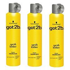 18€/L 3x 300ml got2b Adhésif en aérosol freeze Spray cheveux pour stark Support