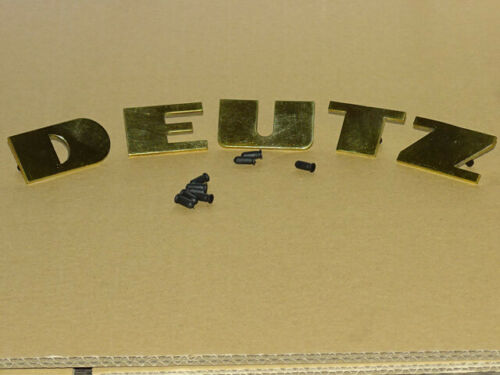 """Messing Haubenschriftzug /""""Deutz/"""" für 06 Serie 4006 6006 7006 Buchstaben Traktor"""
