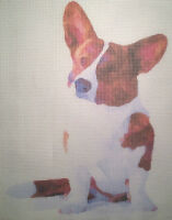 Printed Needlepoint Canvas corgi