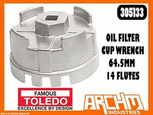 TOLEDO Oil Filter Cup Wrench 74.2mm 14 Flutes 305135