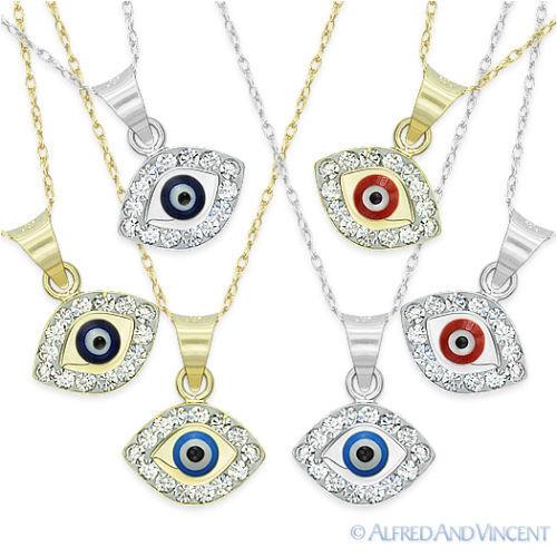 Evil Eye Turkish Nazar Greek Mati Charm Hamsa Kabbalah Pendant Necklace 14k Gold