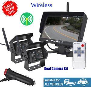 """For RV Truck Bus 2 X Wireless Rear View Backup Camera Night Vision 7/"""" Monitor"""