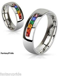 pride stainless steel rainbow gem wedding promise ring