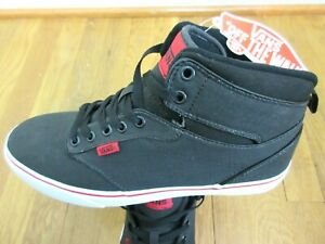 167648d8b1c Vans Mens Atwood Hi Top Rock Textile Black Red Canvas Skate shoes ...