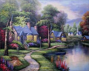 Image Is Loading Stretched Quality Hand Painted Oil Painting Brookside  Cottages