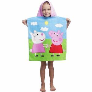Officiel-PEPPA-PIG-Poncho-serviette-a-capuche-en-coton-doux-filles