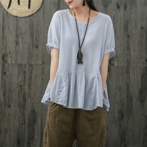 UK Women Summer Short Sleeve O Neck Blouse Ladies Loose Striped Tops T Shirts