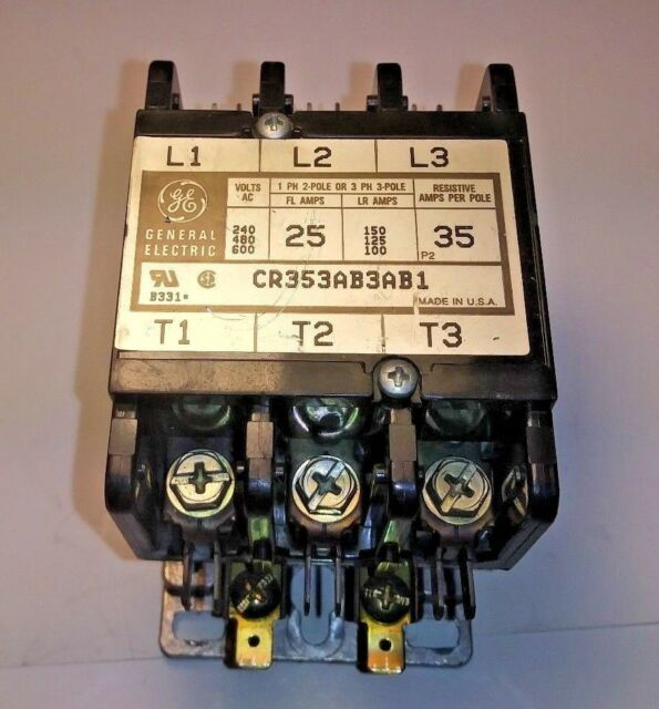 CR353AB4AB1 General Electric w// 55-B31B 208-240 Coil 25 Amp Contactor HVAC