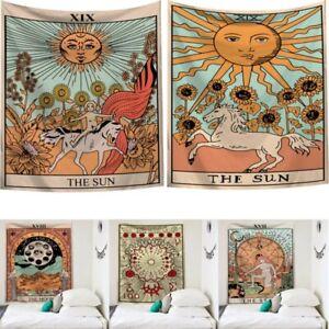 Mandala Tapiz Indio Tarjeta De Tarot Hippie Sol y la Luna Colgante De Pared Decoración Hogar