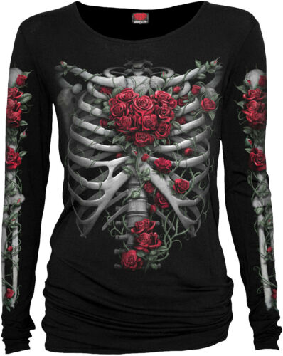 Spiral Direct New Release ROSE BONES Tee Xmas//Skeleton//Goth//Rock//Love//Top//Heart