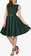 NEW AUDREY DARK GREEN ROCKABILLY EVENING WEDDING PROM DRESS SIZE 18 NO BELT