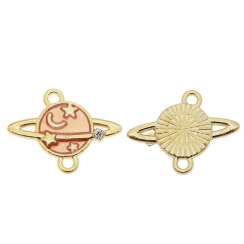 15x19mm Gold Alloy Oil Drip Planets DIY Jewelry Making Pendant Charm 30 pcs