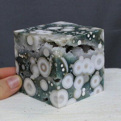 "2.35"" Amazing Druzy Ocean Jasper Agate Cube Orbicular Reiki Stone, Ojp419"