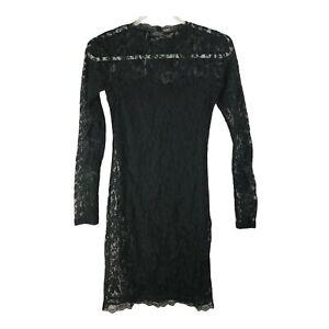 Topshop Women's Size US 6 Black Lace Long Sleeve Mini  Dress