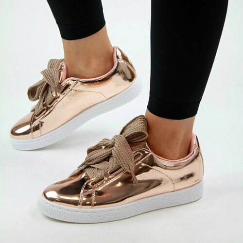Womens Flat Ribbon Laces Plimsolls Metallic Patent Pink Rose Gold Trainers Shoes