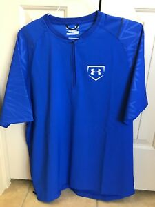 Alert Under Armour Men's Undeniable Cage Jacket 1/4 Zip Baseball Pullover Blue L Men's Clothing