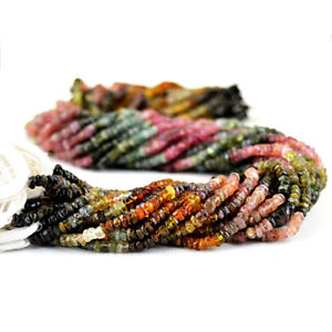 50-00-Cts-13-Inches-Natural-Drilled-Watermelon-Tourmaline-Faceted-Beads-Strand
