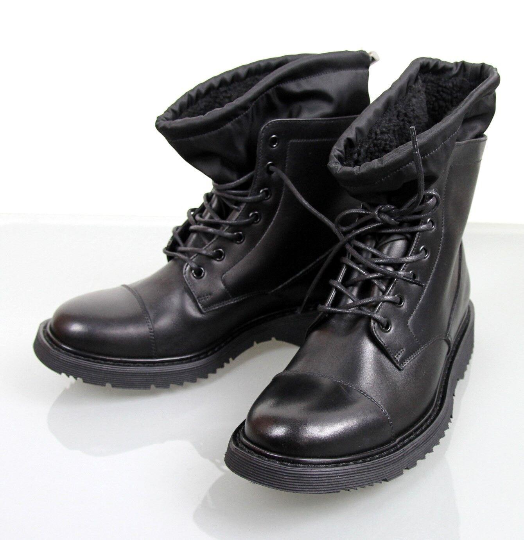 Nuevo AUTÉNTICO Prada leather fur Cordones botas Zapatos del Reino Unido 6 us 7, 2tg034