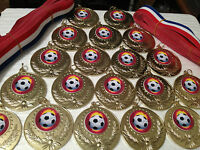15 x Large 50mm Quality  Gold Metal Football Medals..FREE RIBBONS FREE DELIVERY