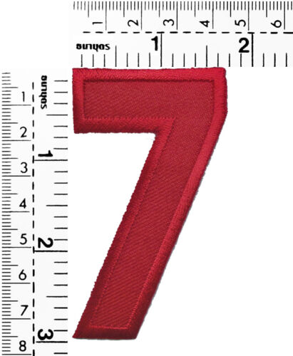 #673R Red Letter Number 0-9 Embroidered Sew Iron on Patch Applique 3 Inch Tall