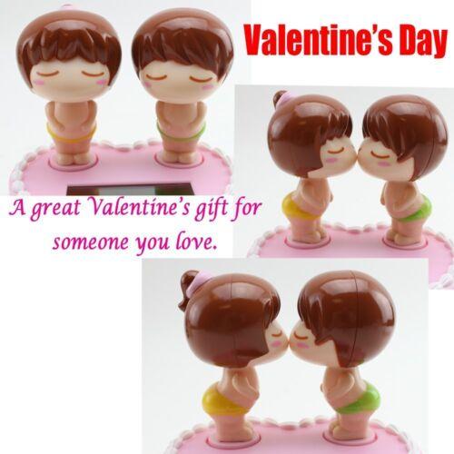 Solar Powered Boy Girl on Pink Cake Perfect Gift Valentine/'s Day Wedding Decor