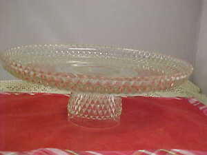 Image is loading Vintage-Cake-Plate-Stand-Indiana-Clear-Glass-Diamond- & Vintage Cake Plate Stand Indiana Clear Glass Diamond Point Good ...