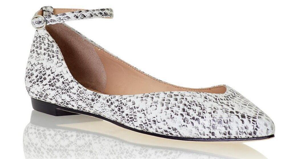 New Belle Sigerson Morrison Sable Pelle Ankle Strap Flat Shoe, Snake, sz 7.5B