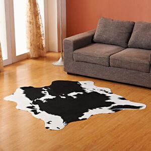 Large Faux Fur Animal Hide Carpet Mat Cowhide Irregular Leather Area Rug Throw