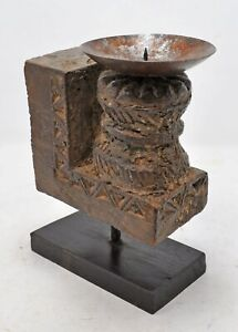 Antique Wooden Carving Plaque Candle Holder Original Old Hand Carved Painted