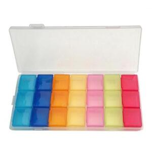 7 Tag 21 Slot Pill Box Cse Holder Medizin Organizer Tablet Storage Dispense