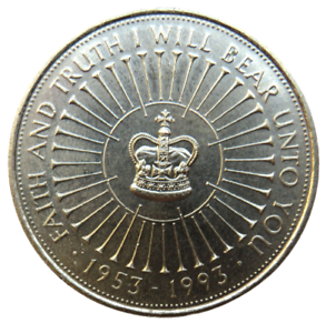 1953-1993 £5 Five Pound Coin - 40th Anniversary Of Queens Coronation