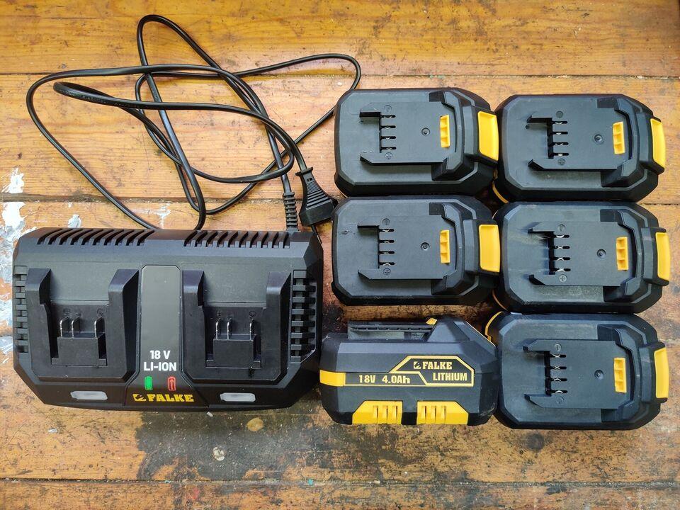 Batterier og dobbelt lader, Falke