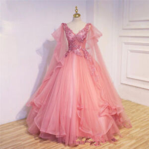 Princess-Medieval-Celtic-Wedding-Dress-V-Neck-Fairy-Bridal-Gown-Custom-all-Size