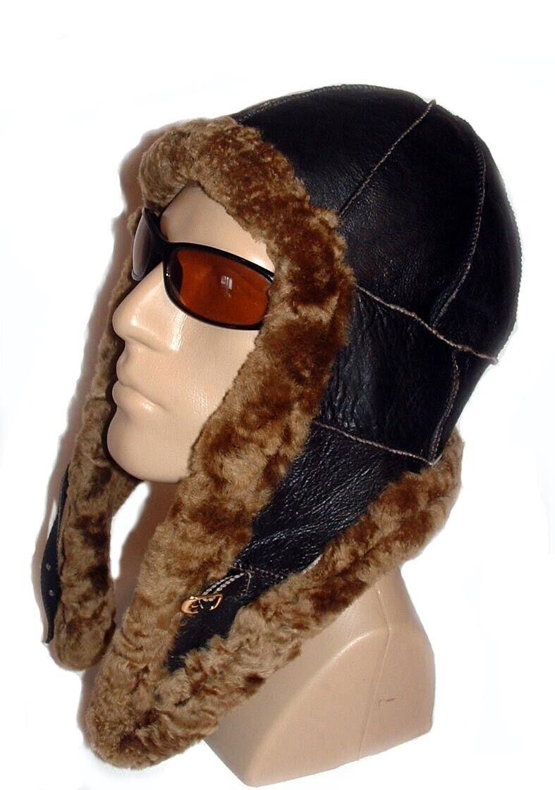 ! nuevo! hecho a mano para hombre de piel de oveja bomber de aviador piloto Gorro De Piel Real De Cuero Talla L-XL