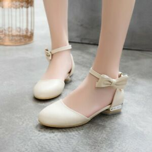Women-039-s-Cute-Bows-Ankle-Strap-Mary-Jane-Pumps-Round-Toe-Flat-Heel-Shoes-Lolita